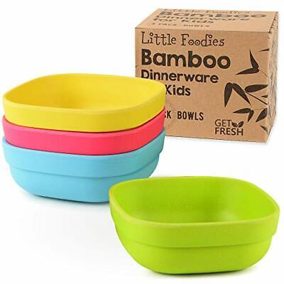 Bamboo Kids Bowls, Set of 4 kids bamboo dinnerware for everyday use,
