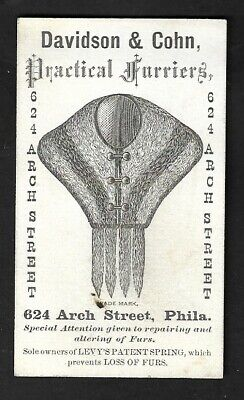 """1890's Phila.,PA-Davidson & Cohn Practical Furriers """"Levy's Patent Spring"""" Card"""