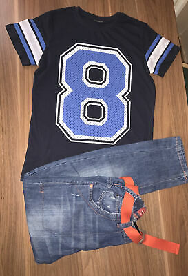 NEXT Boys Jeans With Belt  & Baseball Style Blue T-shirt  12 Years