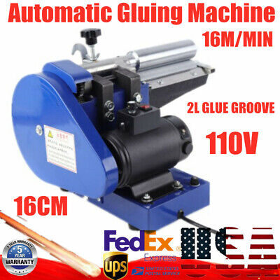 Automatic Gluing Coating Machine 6.5In for Leather Goods+ 2L Glue Groove 110V US