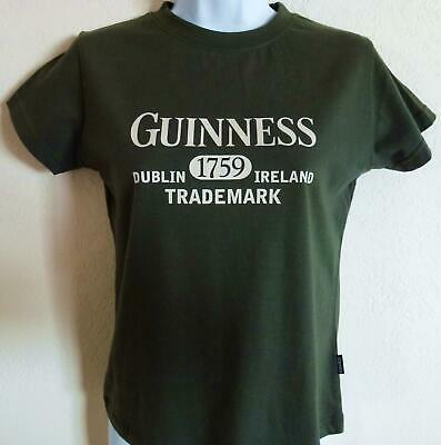 NWT Official Classic GUINNESS T-Shirt Olive Green 100% Cotton Irish Women's S