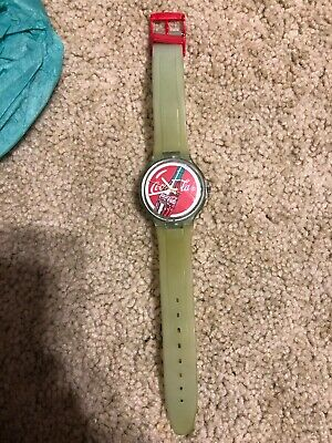 Coca Cola Swiss Made Swatch Style Promotional Green Water Shock Resistant  Watch