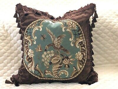 "HANDSOME VINTAGE NEEDLEPOINT TAPESTRY PILLOW OF GRIFFON 22"" x 22""  MUST SEE"