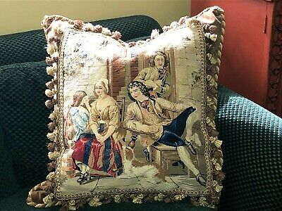Huge Stunning Antique Needlepoint/Petitpoint Tapestry Pillow ~Figural With Dog