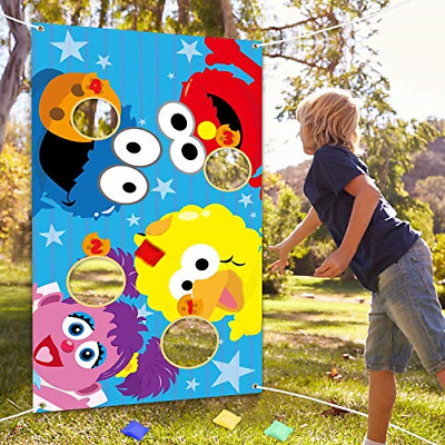 BeYumi Elmo Toss Game with 4 Bean Bags Sesame Beanbag Toss Game Outdoor Indoor