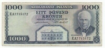 Iceland 1000 Kronur 1974 - 1984 Sign 43 Pick 46 Look Scans