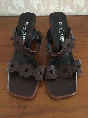 Vintage Russell And Bromley Chocolate Brown Heeled Sandals Size 4 1/2