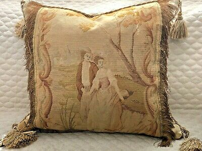 "MAGNIFICENT 19TH C FRENCH NEEDLEPOINT TAPESTRY PILLOW~COURTING COUPLE 24"" x 24"""