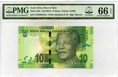 South Africa 10 Rands ND 2013 P 138 15th Gem UNC PMG 66 EPQ