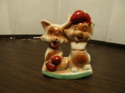 Vintage Ceramic Boxing Foxes - Red Fox - Woodland Creatures - Animal - Japan
