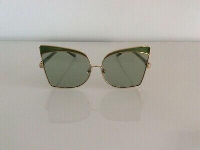 No21 New oversized cat eye sunglasses gold tone tinted lens Green accent