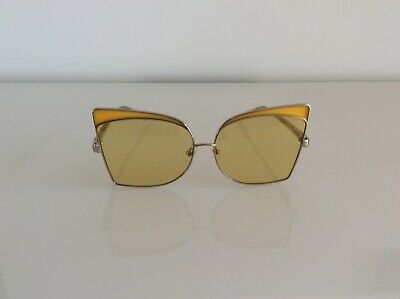 No21 New oversized cat eye sunglasses gold tone tinted lens yellow accent