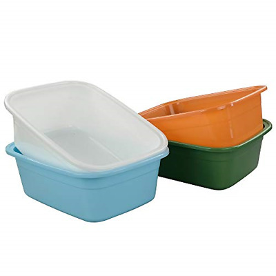 Annkky 4-Pack Colorful Plastic Rectangular Washing up Basin Bowls