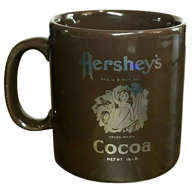 VINTAGE Hershey's Cocoa Bean Baby Coffee Mug Brown Silver Tone Print RARE