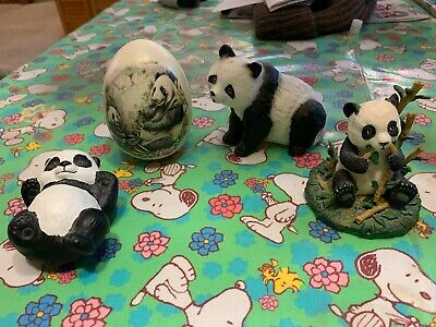 Panda Bear Figurine Collection 4 Pandas All In Very Good Condition