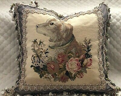 Spectacular Antique 19Th C English Victorian Needlepoint Dog Pillow