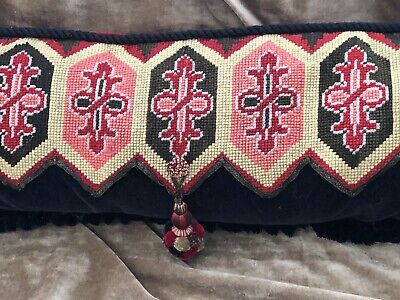 "DRAMATIC ANTIQUE NEEDLEPOINT AND BEADED PILLOW RED & BLACK 36"" x 12"""