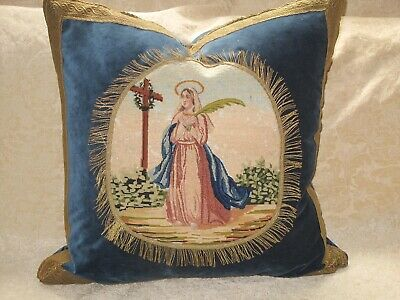 Exquisite French 19Th C Antique Needlepoint Tapestry Of Saint With Metallic Trim