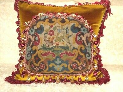 STRIKING 19TH c NEEDLEPOINT TAPESTRY CHIPPENDALE BIRD PILLOW #2
