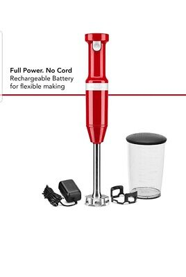 KitchenAid Cordless Variable Speed Immersion Hand Blender KHBBV53 (Red) free del