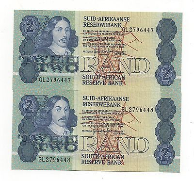 South Africa 2 X 2 Rand 1981 - 1983 Pick 118 C Unc Consecutive Numbers