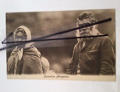 Antique Vintage old photo postcard photograph Australian Aboriginals half penny