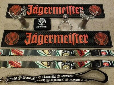 Jagermeister lot, bar mats, stag pewter shot glasses, stag pour, lanyards, plus