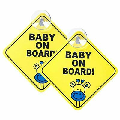2 Pcs Baby on Board Sign for Cars Kids Safety Warning Sticker Notice Board New