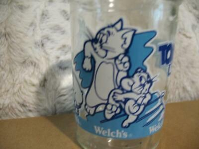 Vintage Welch's Tom and Jerry The Movie Jelly Jar Juice Glass Cup 1993 Blue