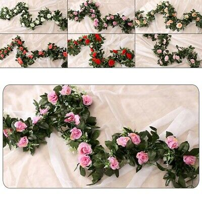 1PC 8Ft Artificial-Rose Garland Silk Flower Vine Ivy Wedding Garden String Decor