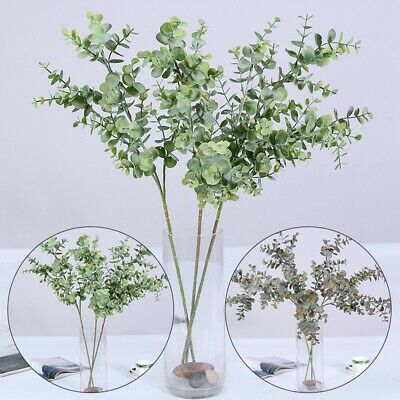 1xBunch Artificial Eucalyptus Stems Greenery Plastic Leaves Fake Decor 30cm New