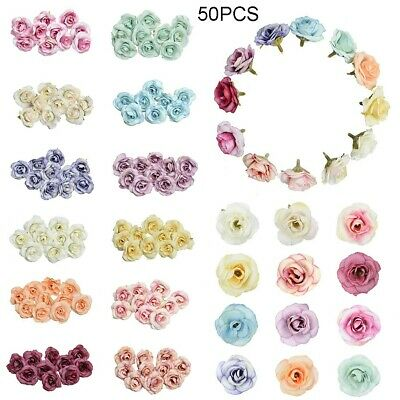 50HEADS ARTIFICIAL SILK SMALL FLOWERS ROSE BUNCH Wedding Home Outdoor Decor