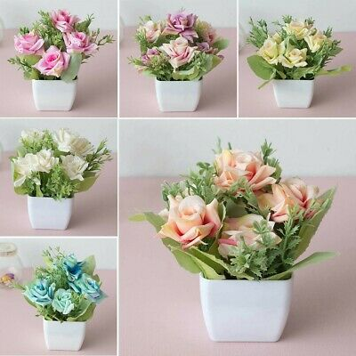 Artificial Potted Flowers Fake False Plants Outdoor Garden Home Pot Decor Use UK
