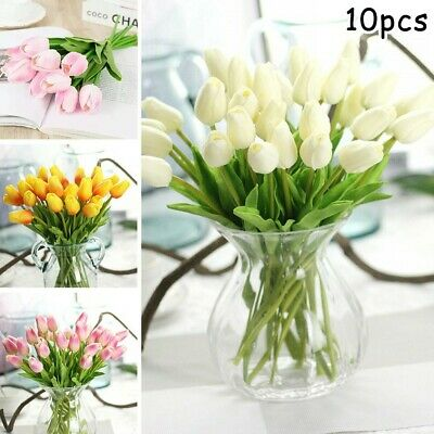 10XArtificial Tulip Fake Flower Silk Bouquet Real Touch For Garden Home Wedding