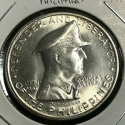 1947 Philippines Silver  One Peso Macarthur Brilliant Uncirculated Crown