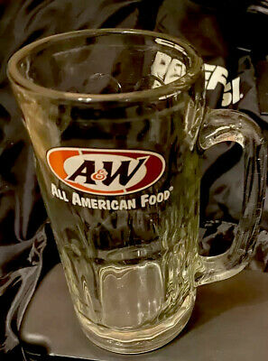 Vintage A&W Root Beer Pepsi Glass Mug LARGE 20oz 7in TALL Clear Glass