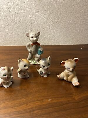 Cat Figurine Lot Of 5 Vintage Made In Japan