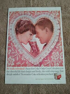 Vintage 1960 Coca Cola Advertisement. Be Really Refreshed Valentine's Day Heart.