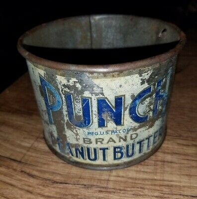 Vtg Rare Punch Brand Peanut Butter Advertising Tin Measuring Cup Rustic