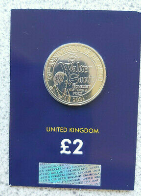 250th ANNIVERSARY SIR WALTER SCOTT £2 BRITISH ROYAL MINT NEW COIN 2021 CARDED