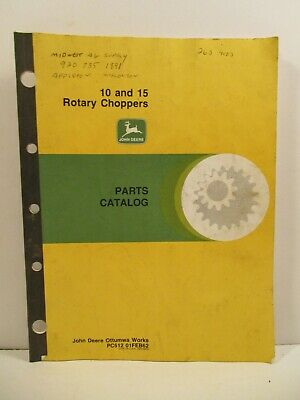 John Deere 10 & 15 Rotary Choppers Parts Operator's Tractor Manual