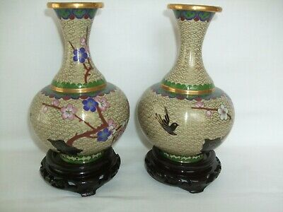 "Vintage Pair of Cloisonne Hand Painted Vases. 6"" - With Stands  - Boxed - PRoC."