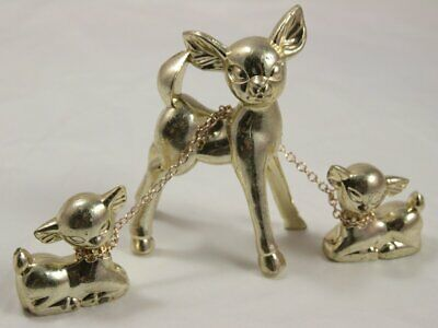 Vintage Set of Three Chained Deer Parent and Children in Gold Plastic Hong Kong