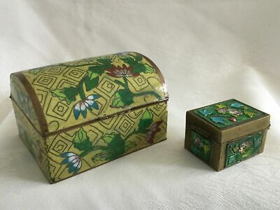 19c Chinese Royal Yellow Cloisonne Lidded CHEST Box + Rare Cloisonne Stamp Box