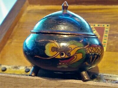 18/19c Chinese Japanese FINEST QUALITY Cloisonne Lidded Pot Censer 5 TOED Dragon