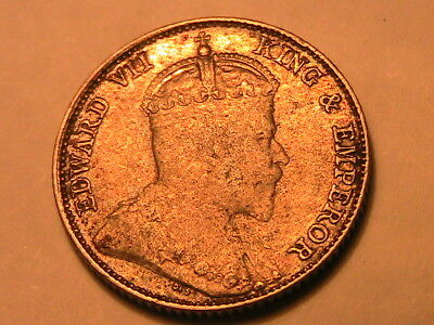 1910 STRAITS Settlements 10 Cent VF+ Orig Tone & Luster British Asia Silver Coin
