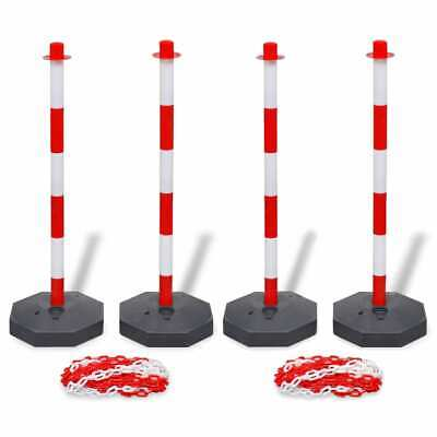 vidaXL Set of 4 Chain Posts and 2 Plastic Chians of 10 m Each Security Barrier