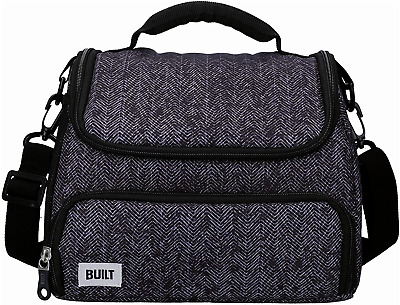 BUILT Insulated Lunch Bag with 'The Professional' Design, Polyester, Black, 18.5