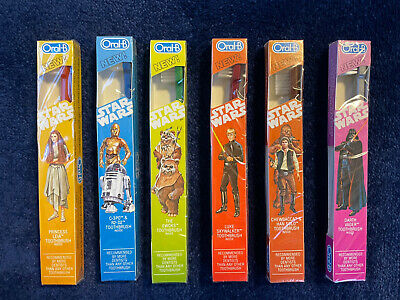 Star Wars Oral B Toothbrush Set Vintage Return of the Jedi 1983 Full Set MISB