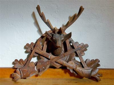 Vintage Wood Black Forest Germany Cuckoo Clock Top Hunter Stag Head Rifle